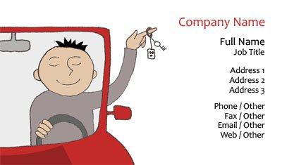 Happy Driver Illustration Business Card Template